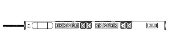 PDU 16A EN60320 C20 2M in and 20XSCHUKO out