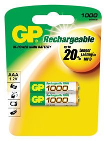 NiMH Rechargeable Battery R03 Size AAA 1, 2V/ 1000mAh **2-pack** (100AAAHC U2)