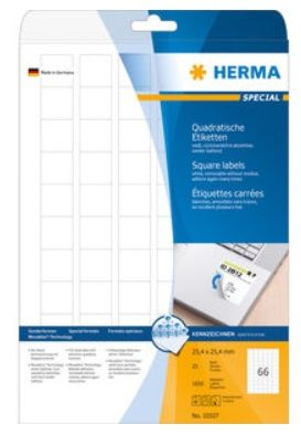 LABELS HERMA 25,4X25,4 A4 WHITE REMOVABLE