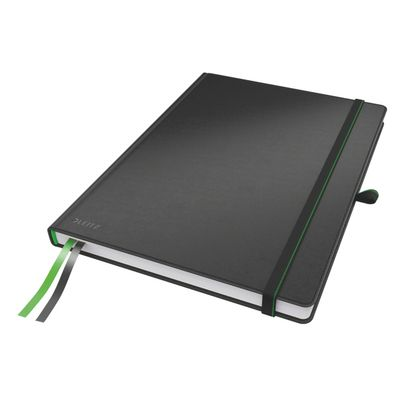 COMPLEET NOTEBOOK LEITZ HARDBACK A4 CHECKED BLACK