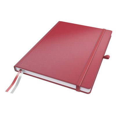 COMPLEET NOTEBOOK LEITZ HARDBACK A4 CHECKED RED
