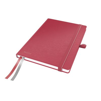 COMPLEET NOTEBOOK LEITZ HARDBACK A5 CHECKED RED