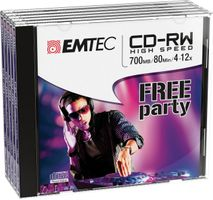 EMTEC CD-RW 700MB 5pcs 4-12x Jewel Case NEW PACK (ECOCRW80512JC)