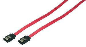S-ATA Cable with latch, 2x male, red, 0,5