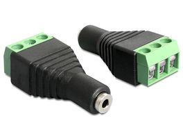 adapter, 2,5mm stereo ho till 3-pin terminalblock,  svart
