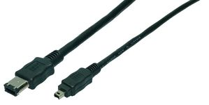 IEEE1394 Cable, 6M/4M, black, 1,80M