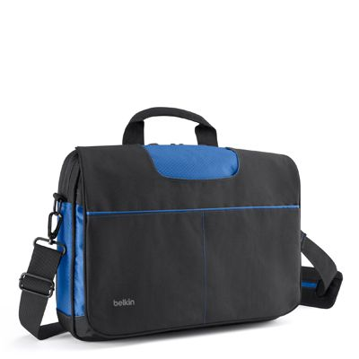 MASSENGER BAG 13IN BLACK/ BLUE . ACCS
