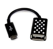 Adapter, micro-USB/ USBA-F on the go, black