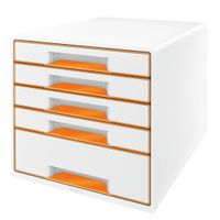 DRAWER UNIT WOW 5 DRAWERS WHITE/ ORANGE