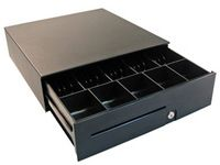 Cashdrawer S100 12/24 V Black cash drawer with Euro insert 5 bills/8 coins
