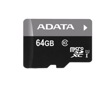 A-DATA Premier microSDXC Memory Card & Adapter, UHS-I - 64 GB (AUSDX64GUICL10-RA1)