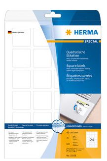 LABELS MOVABLE HERMA A4 40X40MM WHITE
