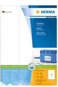 HERMA Labels 70 x 297mm, A4 Herma premium, white, (100 sheets) (4657)