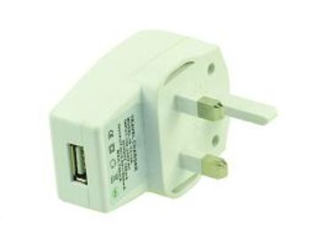 2-POWER UK AC Mains Plug with USB Port 0.5A (UKP0001W)