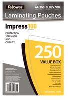 FELLOWES LAMINATING POUCH 100MIC A4 250PK (5313904)