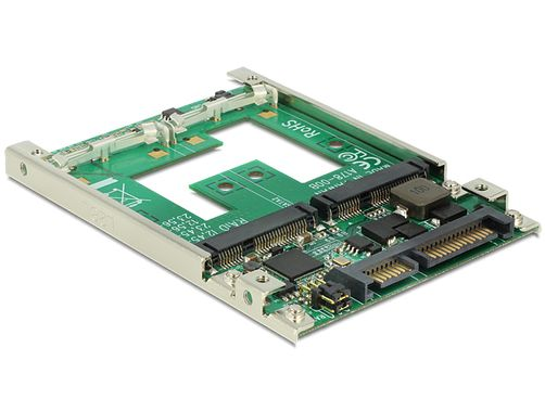 "mSATA  adapter, mSATA - SATA 22-pin, 1x2,5"" plats, RAID, 7mm"