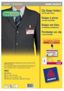 AVERY Name Badge Set  (Clip) Delivered With Inserts (4822)