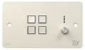 SY Electronics SY KP4V Panel 4 button+volum 147x86 hvit 4xIR/ RS-232,  2xInPorts,  2xRelay TriColor