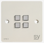 SY Electronics SY KPM4 Panel 4 button 86x86 hvit 2xIR/ RS-232,  2xInPorts,  2xRelay Blue LED