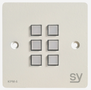 SY Electronics SY KPM6 Panel 6 button 86x86 hvit 2xIR/ RS-232,  2xInPorts,  2xRelay TriColor