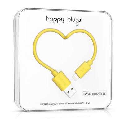 Happy Plugs Lightning to USB Charge/ Sync Cable 2.0m - Yellow
