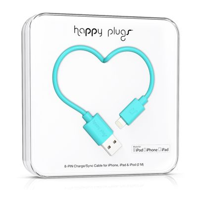 Happy Plugs Lightning to USB Charge/ Sync Cable 2m -Turquoise