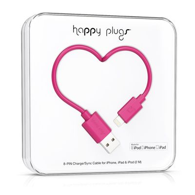 Happy Plugs Lightning to USB Charge/ Sync Cable 2.0m - Cerise
