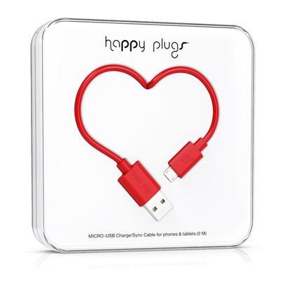 Happy Plugs Micro-USB to USB Charge/ Sync Cable 2.0m - Red