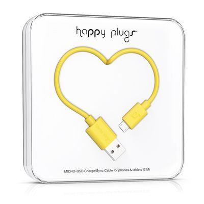 Happy Plugs Micro-USB to USB Charge/ Sync Cable 2.0m - Yellow