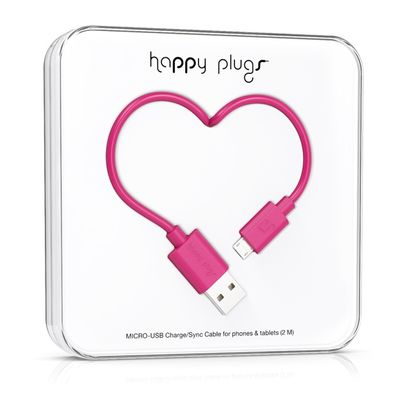 Happy Plugs Micro-USB to USB Charge/ Sync Cable 2.0m - Cerise