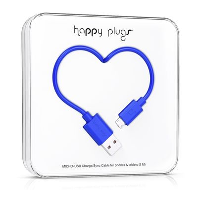 Happy Plugs Micro-USB to USB Charge/ Sync Cable 2.0m - Cobalt