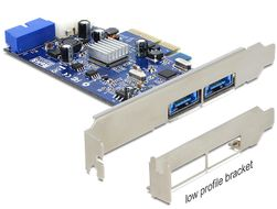 DELOCK PCI-Express x4 kort, 2xMultiport,  19-pin USB 3.0 internt (89367)