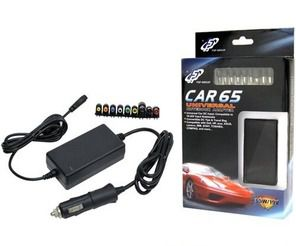 Fortron Universal Car Charger 65 Wtill notebooks,  12 V DC input, 18-20 V output, 9 power tips