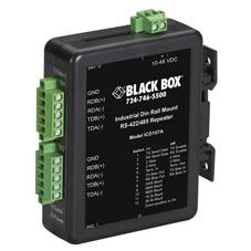 BLACK BOX Industrial RS-422/ RS-485 DIN Rail Repeater Factory Sealed (ICD107A)