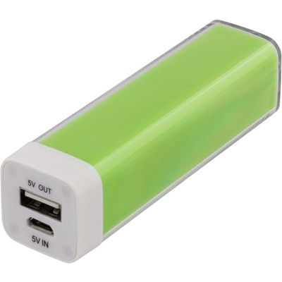 Powerbank,  2600mAh, USB 5V 1A, grön