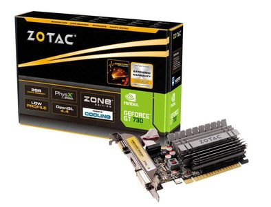 ZOTAC GeForce GT 730 2GB PhysX CUDA PCI-Express 2.0, DDR3, DL-DVI-D, HDMI, VGA, 2x LP bracket (ZT-71113-20L)