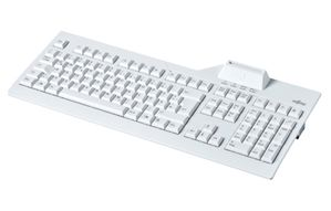 FUJITSU SmartCard keyboard nordic with class 2 reader on the top. Without security seal. VOL up, VOL down, Play/ Pause and calculator multifunction keys, fixes USB cable 1.8m, manual, driver DVD, USB 2.0 (S26381-K538-L154)