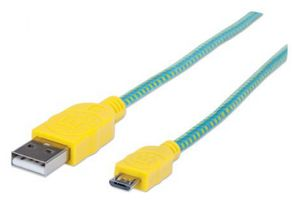 1M 352710 USB A TO MICRO B M/M BRAIDED TEAL/ YELLOW CABLE