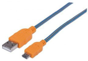 1M 352734 USB A TO MICRO B M/M BRAIDED BLUE/ ORANGE CABLE