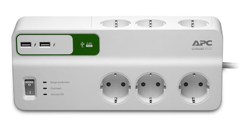 APC Essential SurgeArrest 6 230V Outlets, 2 Port 5V 2.4A USB charger (PM6U-GR)