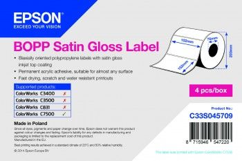 BOPP SATIN GLOSS DIE-CUT 102MMX152MM 960 LBLS