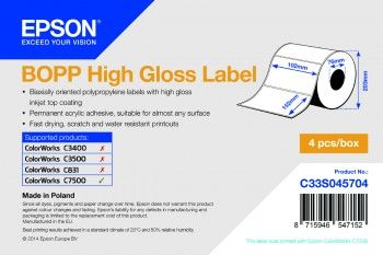 BOPP HIGH GLOSS DIE-CUT 102MMX152MM 960 LBLS SUPL