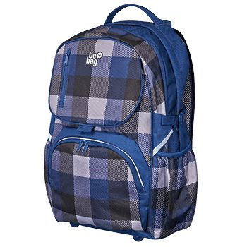 Schulrucksack be.bag cube Blue Checked