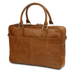 "DBRAMANTE1928 Leather business bag Rosenborg up to 14"""" –  Golden tan (BG14GT000425)"