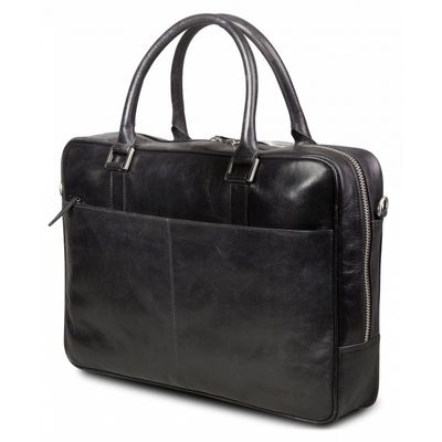 Leather business bag Rosenborg up to 14'' - Black