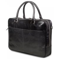 DBRAMANTE1928 Leather business bag Rosenborg up to 16'' - Black (BG16GTBL0527)