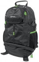 TREKPACK BLACK/ GREEN WOVEN POLYESTER TOPLOAD BACKPACK F/ 17IN