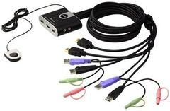 ATEN KVM-switch,  1-2, HDMI/USB, 1,2m kablar