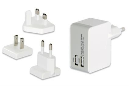 UNIVERSAL TRAVEL CHARGER SET 2 X USB-PORTS CABL