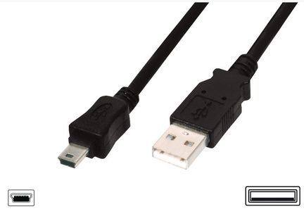 ASSMANN Electronic USB 2.0 CONNECTION CABLE TYPE A - MINI B (5PIN) M/M 1.0M CABL (AK-300108-010-S)